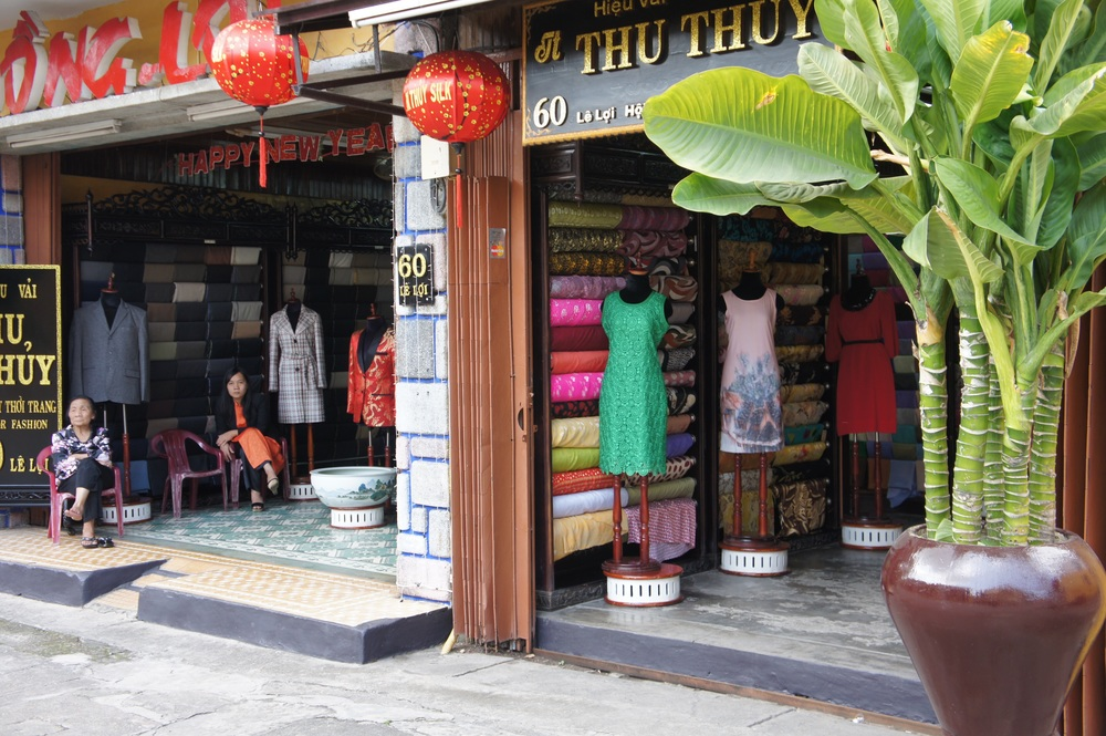 A tailor shop in Hoi An (not actually the one we went to, which was on a busier street).