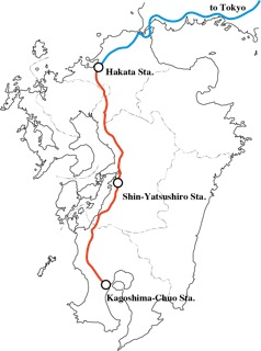 The Shinkansen line through Kyushu