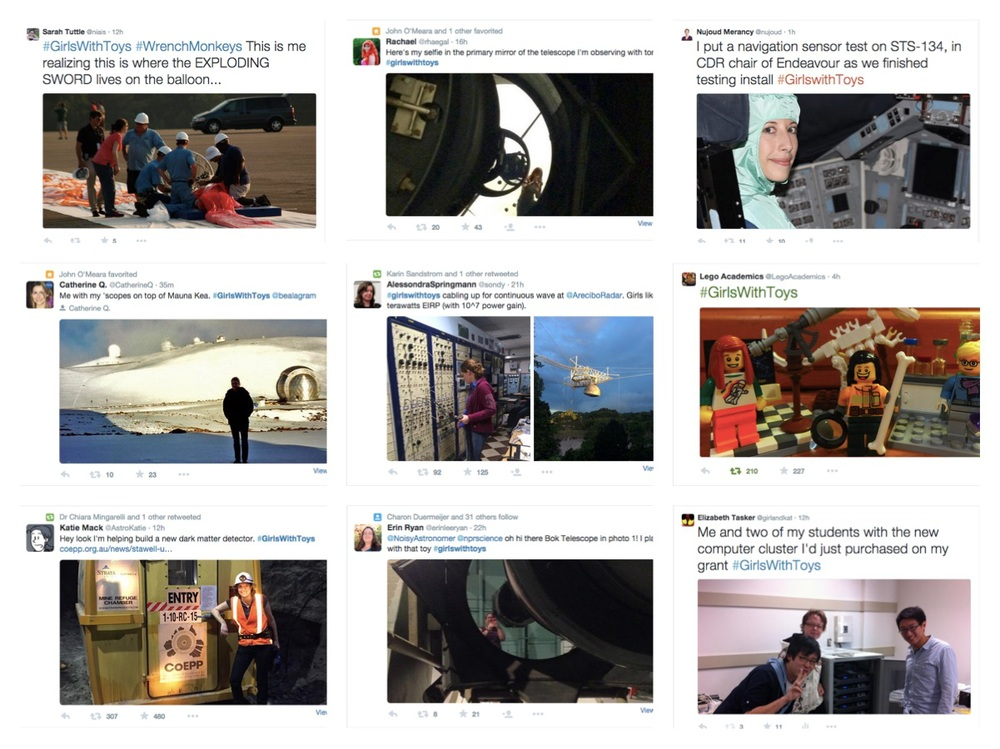 Just a few of the contributions to #GIrlsWithToys twitter tag. Left column, top to bottom: Sarah @niais, Catherine @CatherineQ, Katie @AstroKatie. Middle: Rachael @rhaegal, Alessondra @sondy, Erin @erinleeryan. Right: Nujoud @nujou, Lego Academics @LegoAcademics, me! @girlandkat