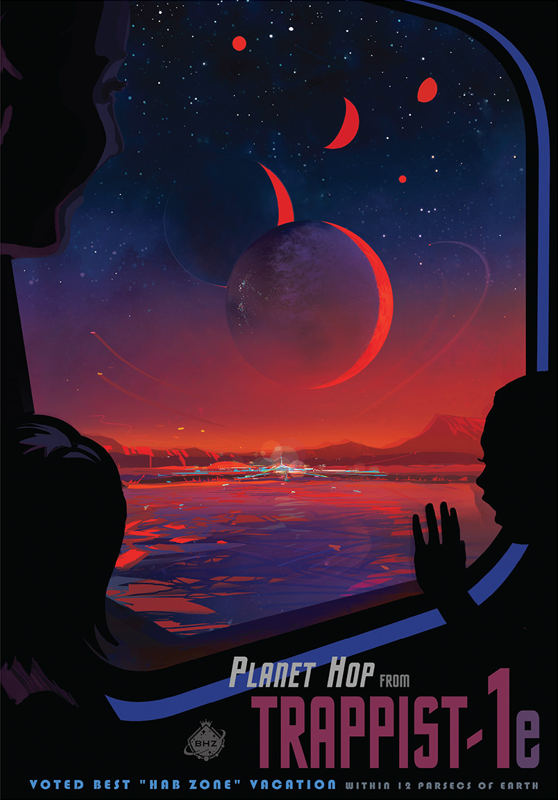 The NASA vintage travel poster for one of the Trappist-1 planets.