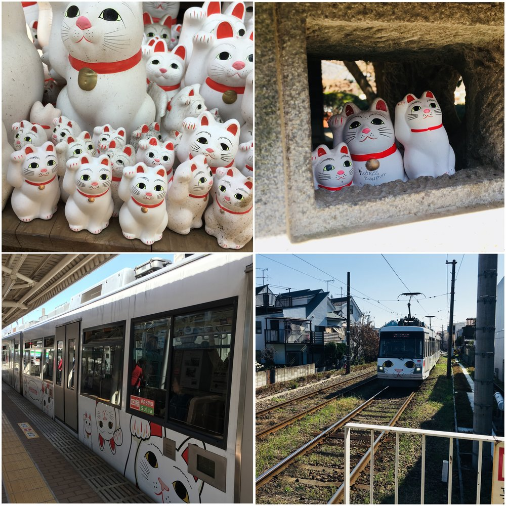 The three small cats I added are the bottom row of waving moggies in the top left photo. Catniss Everpurr is in the top right and the bottom shows the decorated locamotive that runs on the local trainline. Don't ask how long I waited for that one to show up so I could snap a photo.