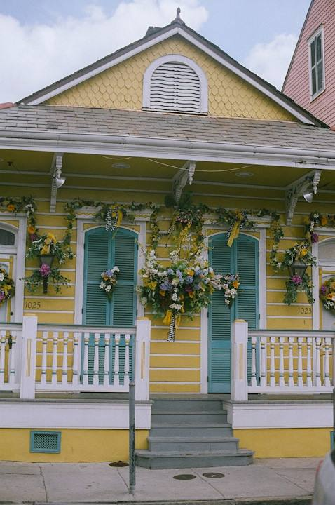 Yellow House and Flowers New Orleans