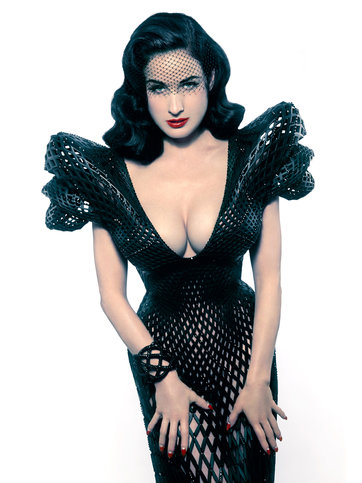 Dita Von Teese wearing the custom 3D-printed dress designed for her by Michael Schmidt and Francis Bitonti. Photo credit: Albert Sanchez via New York Times