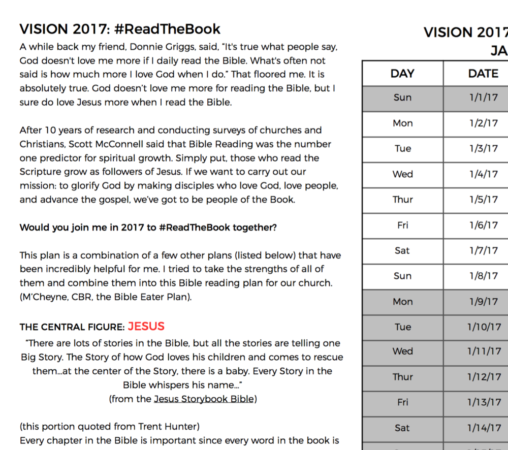 Preview of the #ReadTheBook Bible reading plan