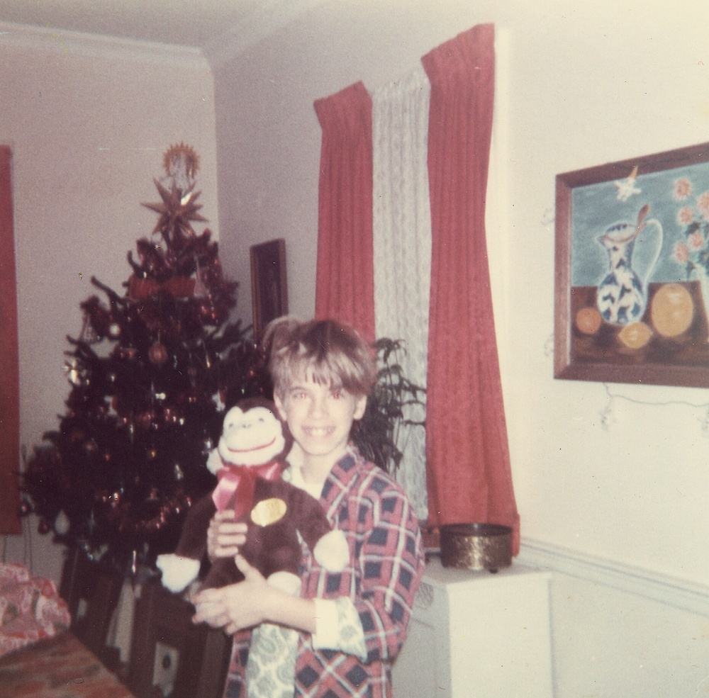 David and his stuffed monkey.