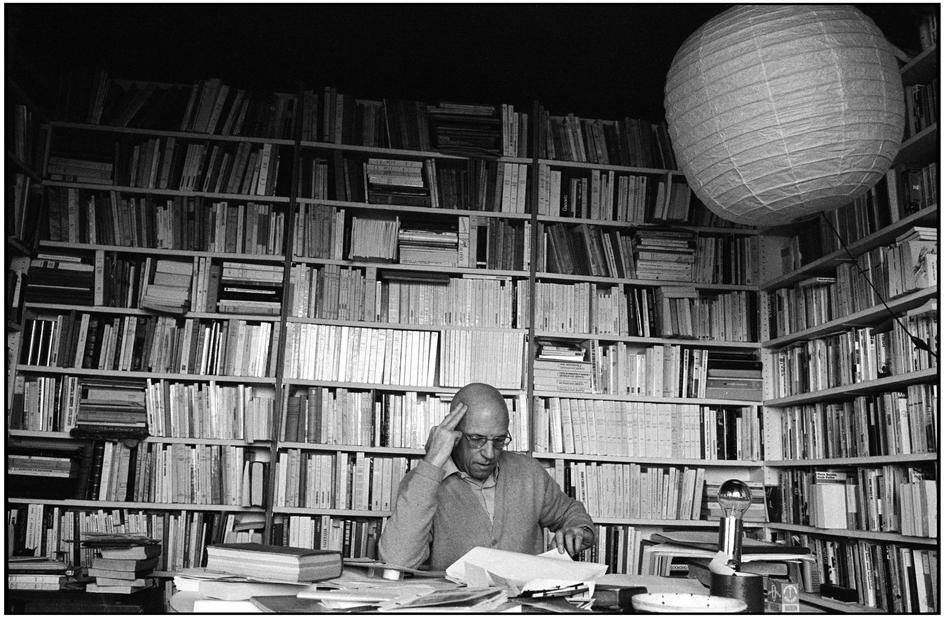 Michel Foucault, Paris 1978. A French Philosopher, Historian of Ideas, Social Theorist, Philologist and Literary Critic. Photo Credit. Martine Franck. I find so much beauty here....love this photo. The exact opposite of minimalism. This office kind of looks like organized clutter. A middle ground.  I would naturally go this direction if left to my own devices, but a clean, open space feels so freeing. After all, my mother is a reading specialist. What do I expect? Fine Balance.