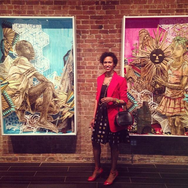 @ Chillin' amongst Swoon @ The Heliotrope Foundation exhibition. Blazer by Harbison, African skirt by Busayo, Red patent peep-toe shoes by Anya Ponorovskaya, Vintage bag, Ethiopian jewelry courtesy of h2 Empower.