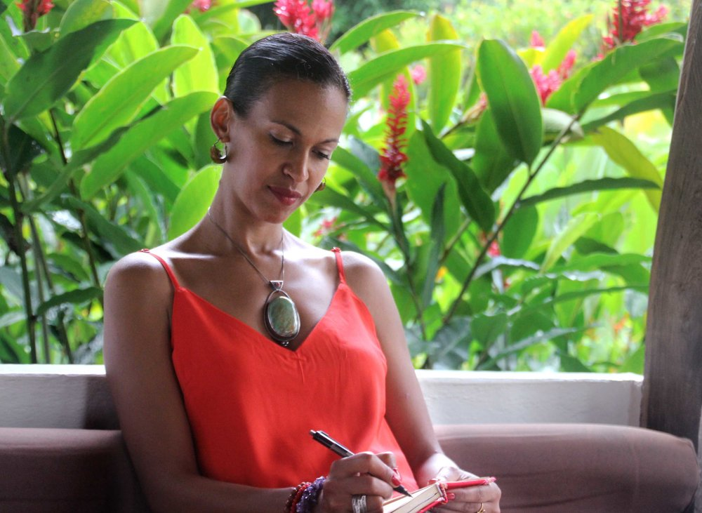 Journaling on our Tropical Transformation Wellness Retreat in Colombia.