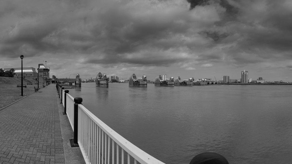 "River Prospect -Thames Barrier from  Information  Centre  51  ° 29'43.2""N 0 ° 02'25.2""E FOV120 °"