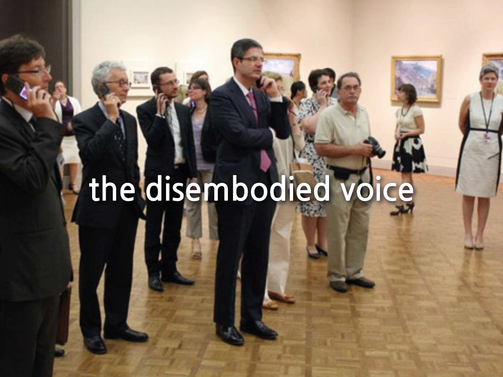 But technology has profoundly altered the way in which we engage with these spaces. The lexicon of symbolism or the presence of an individual to guide you through the work and space has become less and less necessary as we now carry them both in our pocket. The audio tour represents one of these substitutions, but one that is disengaged and passive. We walk from object to object, following the instructions as to which number to press and where to move on to next.
