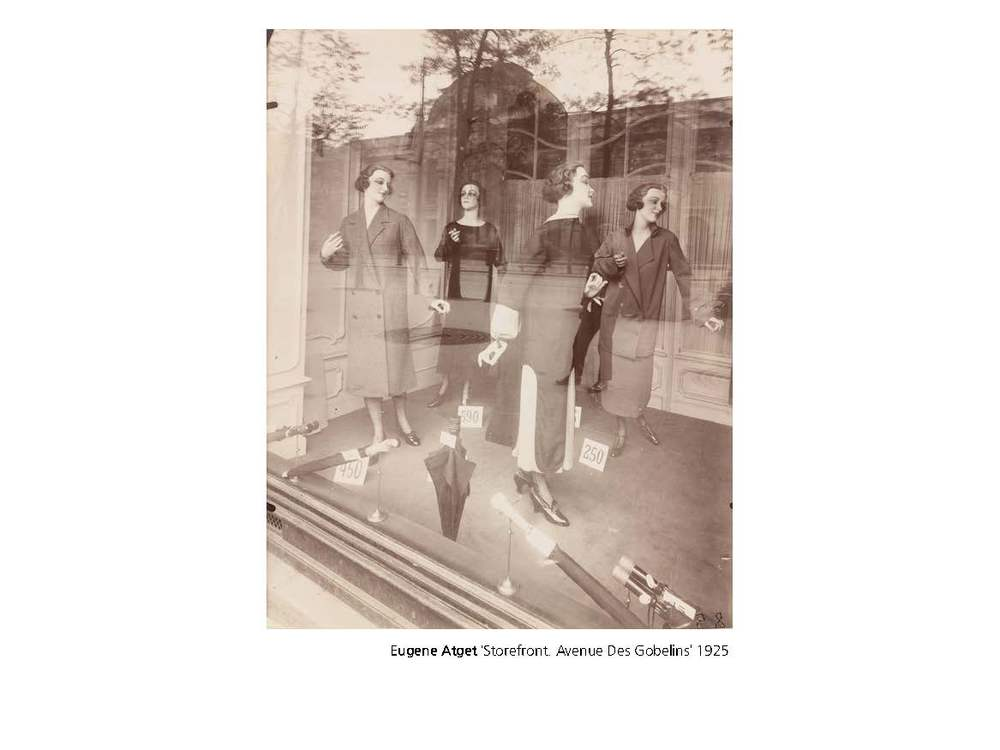 On first glance, his images of shopfront displays create an opportunity to explore the fashion and trends of the time, but more significantly, the windows reflect the city back to us, placing the display within the wider context of urban Paris. As sociological method, Atget's images possess this same layering and compression that allows a single image to convey such significant impressions of the city and what it is to live within it. His work represents Parisian life, his shopfront mannequins inhabiting the stage of the city, the windows reflecting the city back to us, simultaneously audience and backdrop.