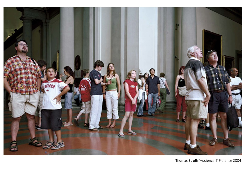 Thomas Struth's photographs are also concerned with audience, but this time, we're on display. His series of photographs taken in galleries and museums over several decades are focussed on the concept of the collective gaze. Struth positions himself near, but never at, the focal point of the audience, they look towards but never at him. They stare intently, they glance off distractedly, they chat, and they yawn.