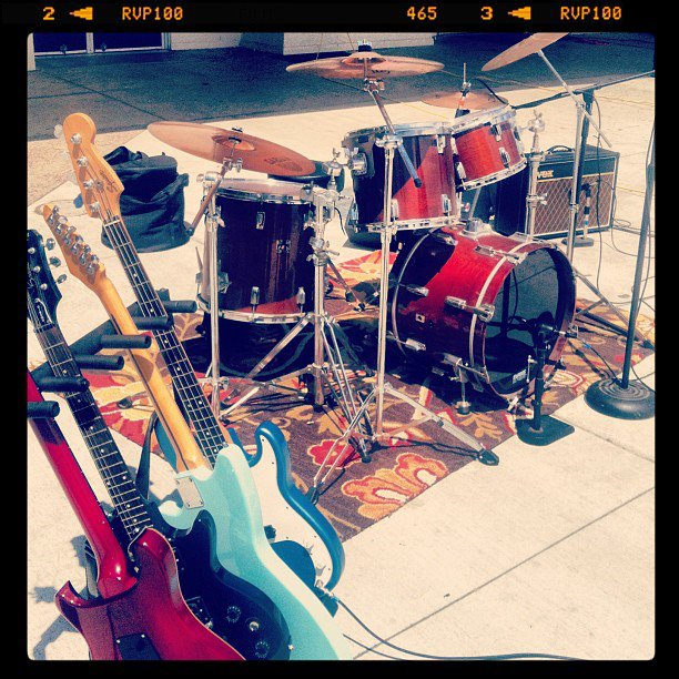 "That's Trevor Cochran's band, ""PAPERDAY's"" gear at the ""Battle of The Bands"" at Trevor's high school."