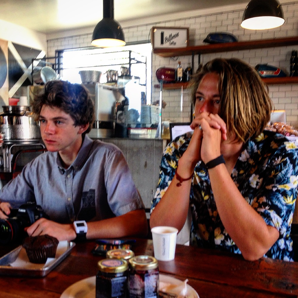 Trevor & Connor hanging out with Stephen in a vibey coffee house in Venice, CA