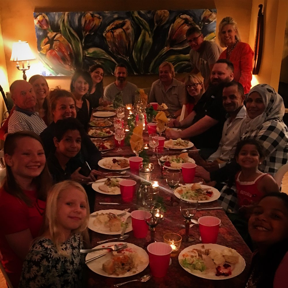 One of my favorite nights, we had a Syrian Refugee family come over for a Thanksgiving meal with our Sunday Night  LoveLooksLikeSomething  group. Since this picture, we have shared a meal at their apartment that they prepared for us. We so love this family.