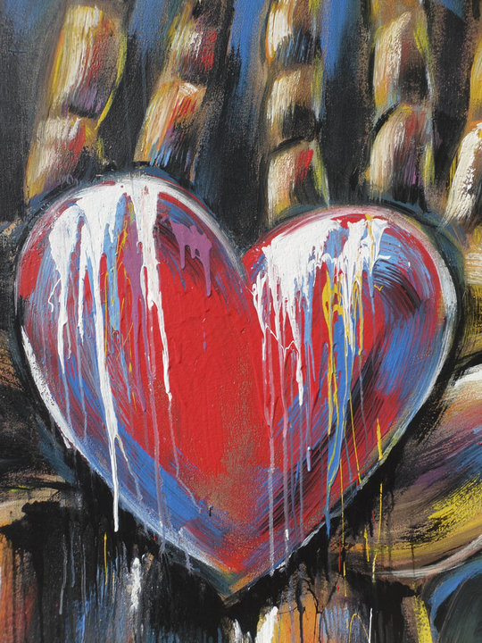 """My Heart is in your hands"" live art Tom Clark"
