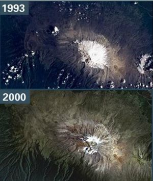NASA satellite image of Mt. Kilimanjaro - 1993 vs. 2000