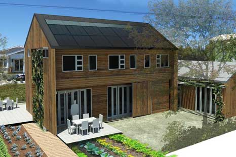 Design rendering showing the north-facing roof covered  in solar water heating and photovoltaic panels.