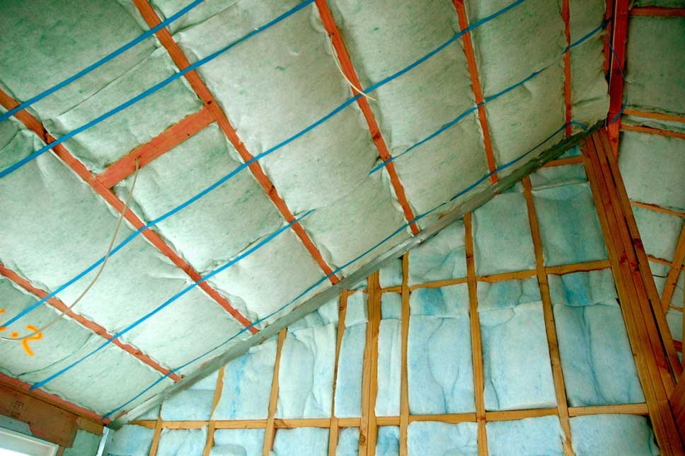 Second layers of insulation in walls and ceiling.