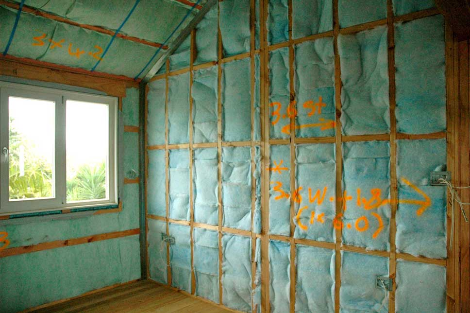 Completed double layers of insulation in upstairs bedroom.