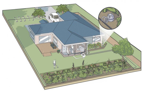 The WaterLille system from Watersmart sends grey water to the garden when moisture levels are below a set level.