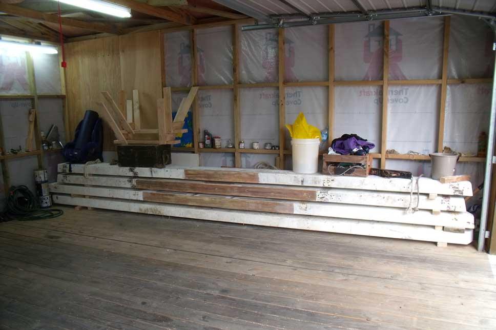 Prepared boat beams before sanding.