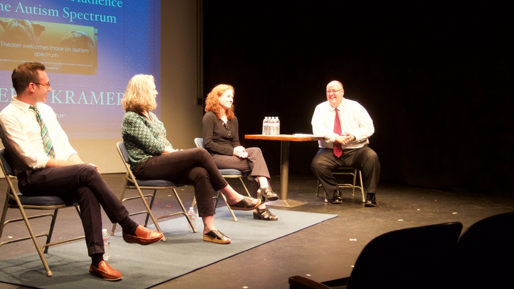 Jonathan Shmidt Chapman, artistic director of the Trusty Sidekick Theater Company, Dr. Patricia Spargo, Tara O'Boyle and Peter Kramer from The Journal News, at a forum discussion at the School House Theater. To view the New York Times Article about Mr Shmidt Chapman's production click here:  'Up and Away,' for Young Audiences Who Don't Want Surprises