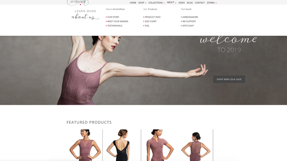 AinslieWear - E-Commerce & Brand Websitewww.ainsliewear.comUser Experience (UX) Design Navigation and Home Page curationGraphic DesignCopywritingInformational pagesProduct pagesBlog PostsE-CommerceManagement of storeNew product launchesDiscontinuing productsMonitoring inventory levelsCustomer notificationsSales reportsWordpress platform.Woo-Commerce plugin.UI design by Twirling Umbrellas.