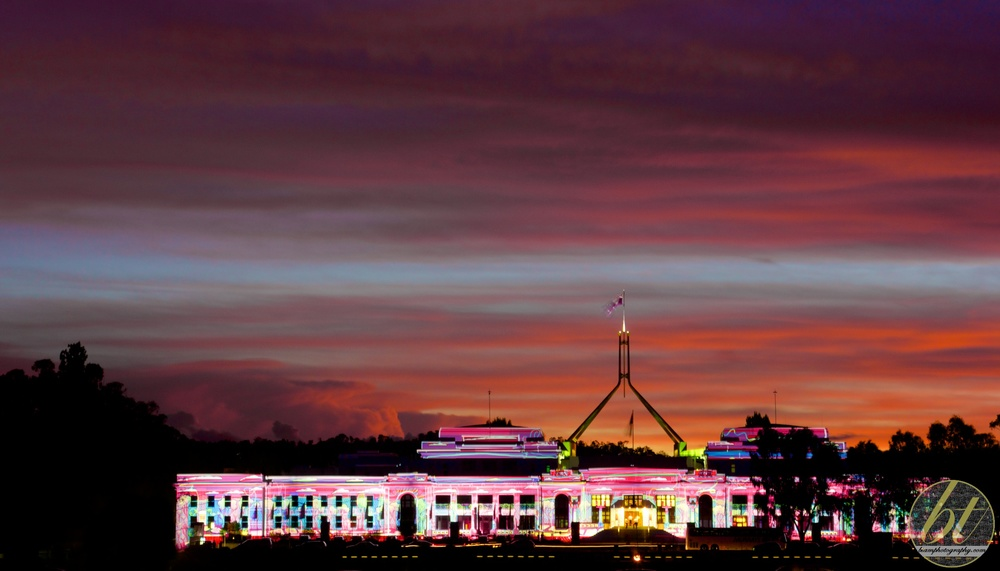 old parliament house nearing sunset