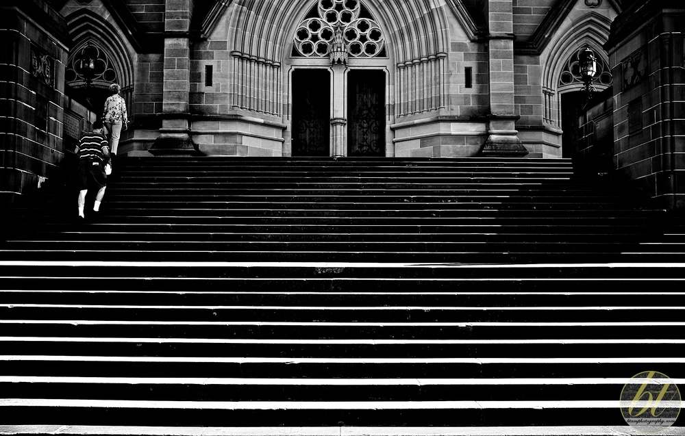 the steps of St Mary's Cathedral