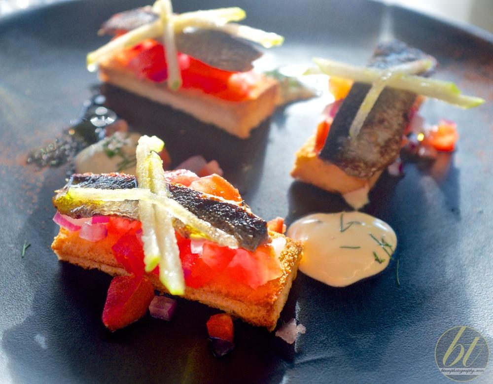 Sardines with toasted brioche,tomato salsa, and horseradish mayo ($21)