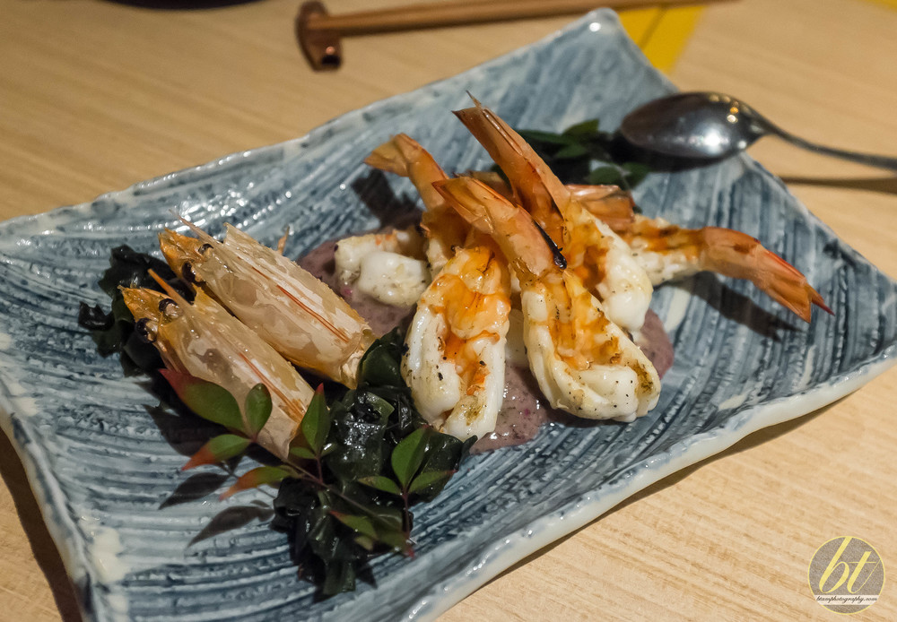 Chargrilled Prawns with Shiso Amazu and Wakame