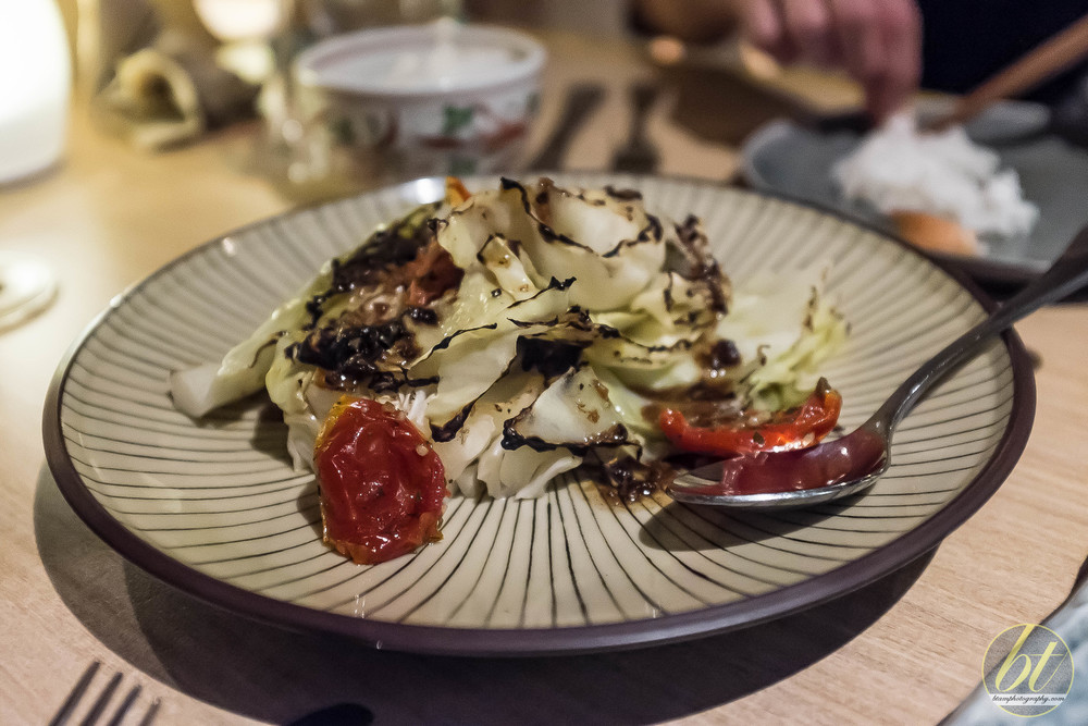 Chargrilled Cabbage, Anchovy Garlic Dressing and Semi Dried Tomato