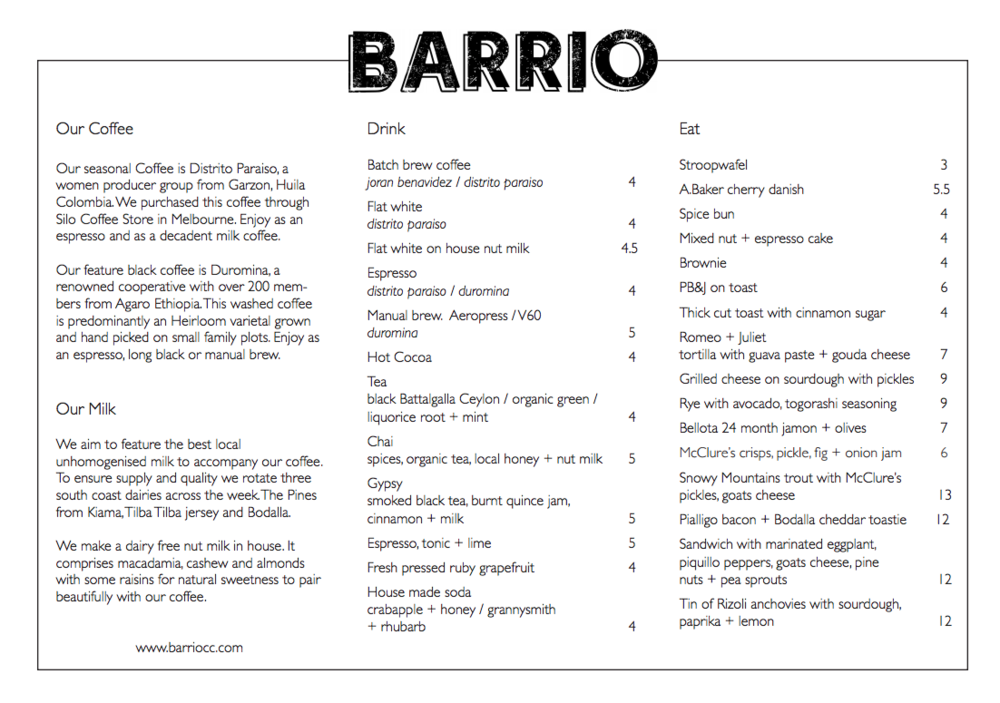 Barrio Collective Coffee Braddon Menu
