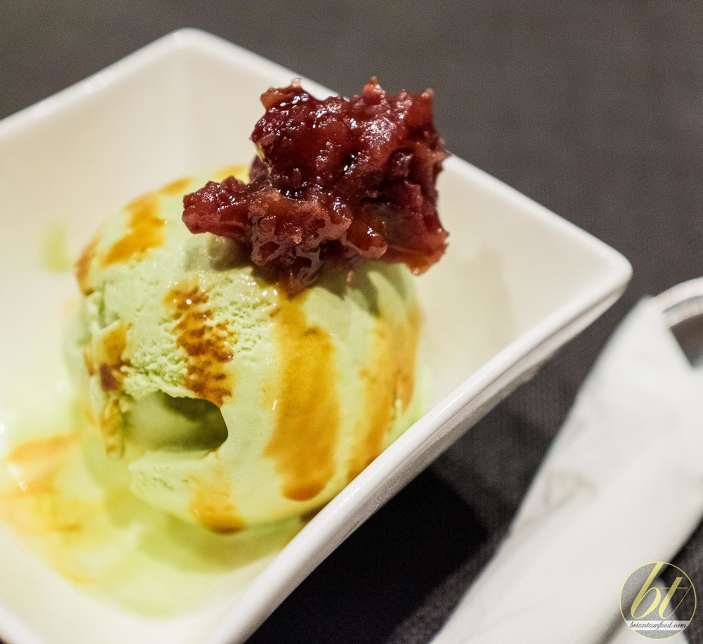 Matcha ice cream with azuki bean