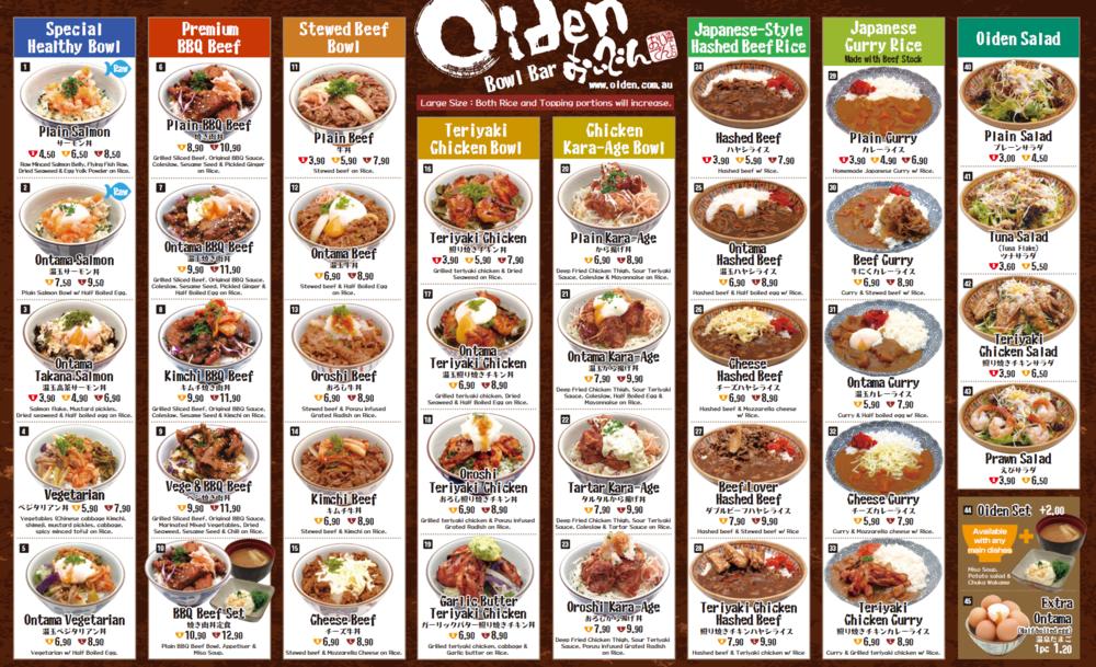 Oiden menu