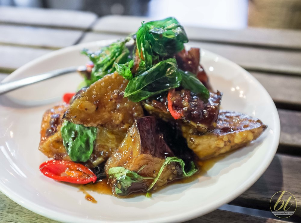 Crispy Eggplant with Korn signature chilli jam sauce (  $17.90)