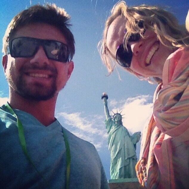 our first day in NYC. Lady Liberty photo bombing us...