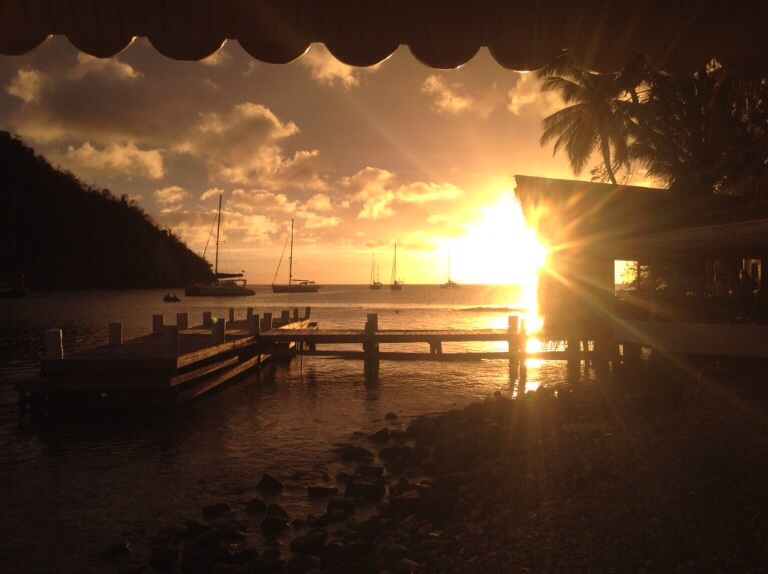 last sunset in St Lucia before we headed off to St Vincent
