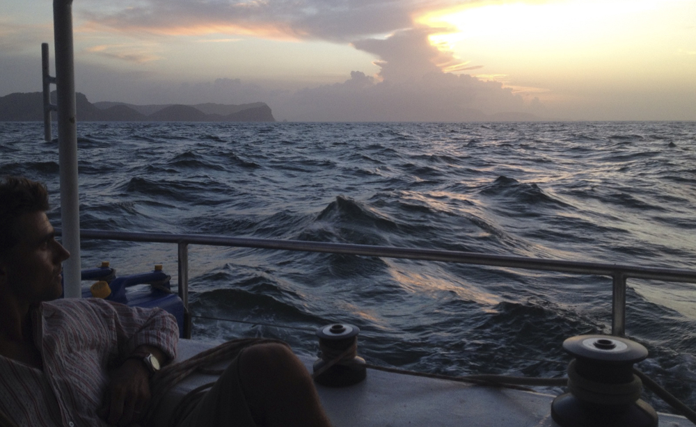 last bit of Trinidad's headland as we left the island to sail North to Grenada