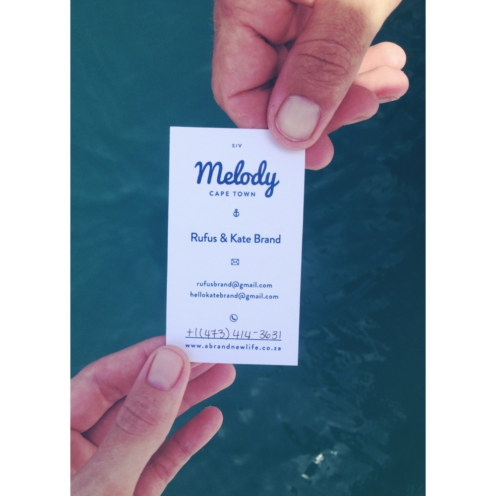"""a lot of yachties have """"boat cards"""". you meet so many different people along the way, in different countries and it's handy to have a card with all your contact info to give and to get. this is our new one, with a nifty contact no space so we can change it as we travel to different countries."""