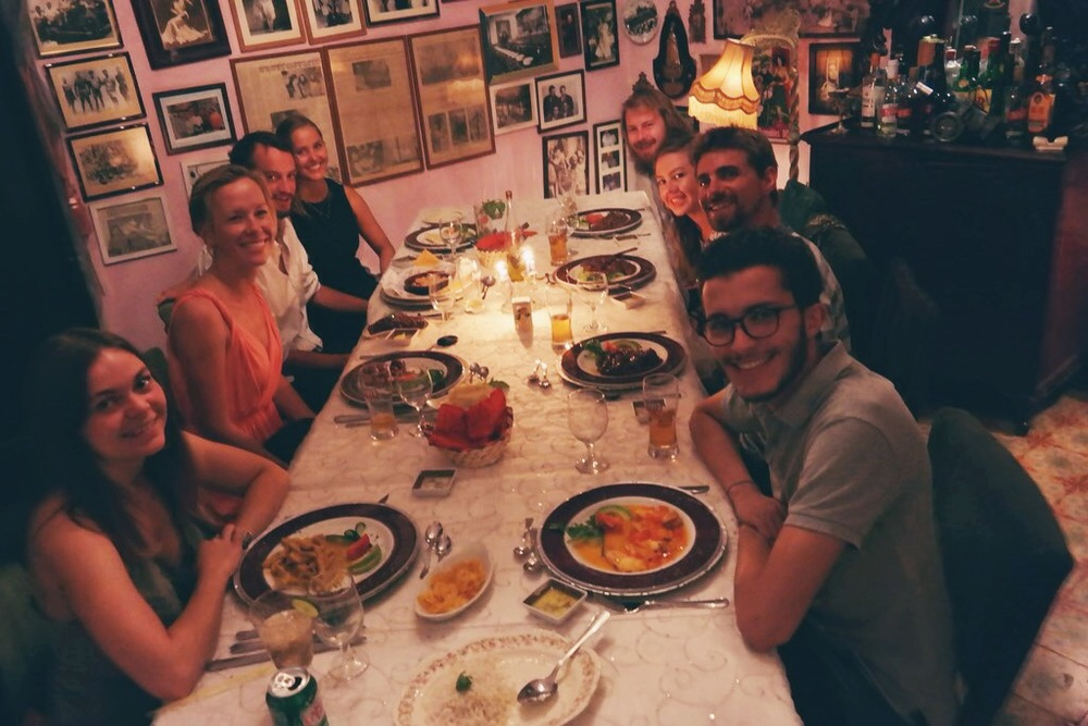 our private dining room - on the left: Charlette, Ben, me, Chloe. on the right: Louis, Hannah, Rufus & Sami.