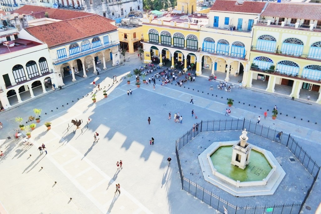 view of Plaza Vieja from the top of the Camera Obscura