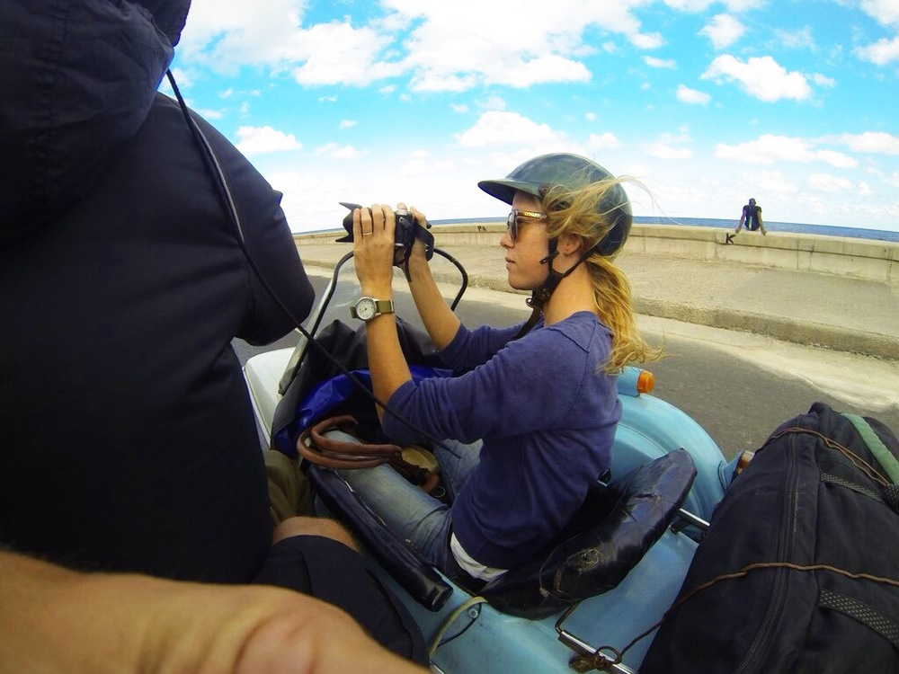 GoPro shots of us driving along the Malecon