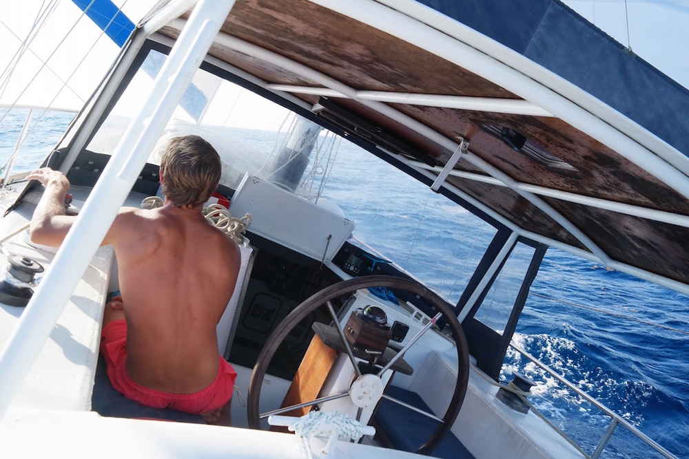 This is not a trick of the camera, that is literally the angle we were sailing at. Forget any workout you can think of on land - if you want six pack abs in a short space of time, do a crossing on a mono-hull. It is a permanent core workout, even in your sleep.