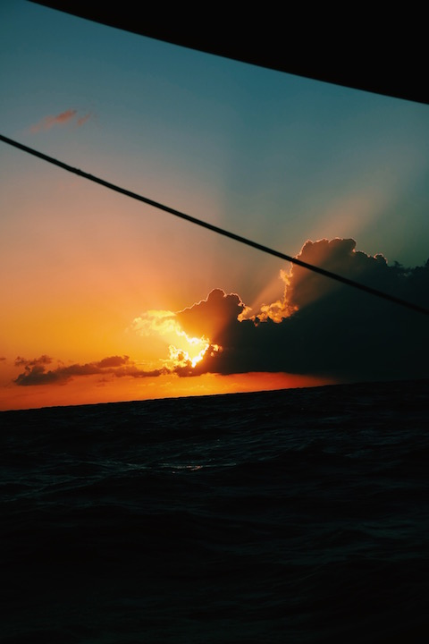 sunsets are always more breathtaking at sea, with no land lights and noise pollution.