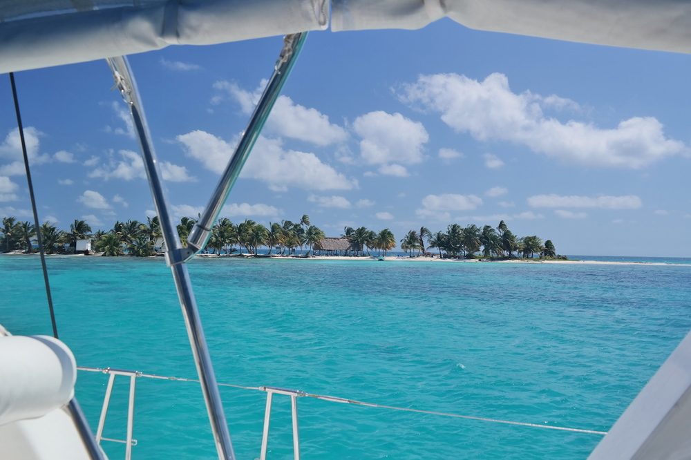the view of Laughing Bird Caye from Sea Dale's helm