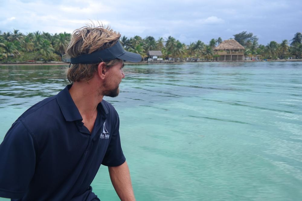 Rufus scouting good snorkel spots for Ken & Elizabeth