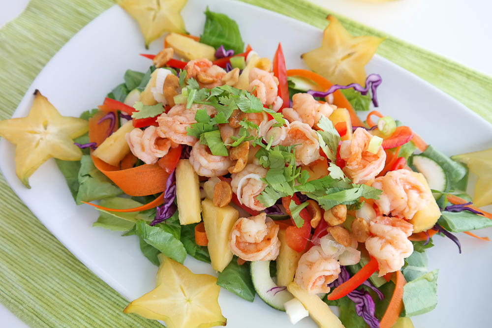preparing some lunch, tropical shrimp salad, for the guest's return