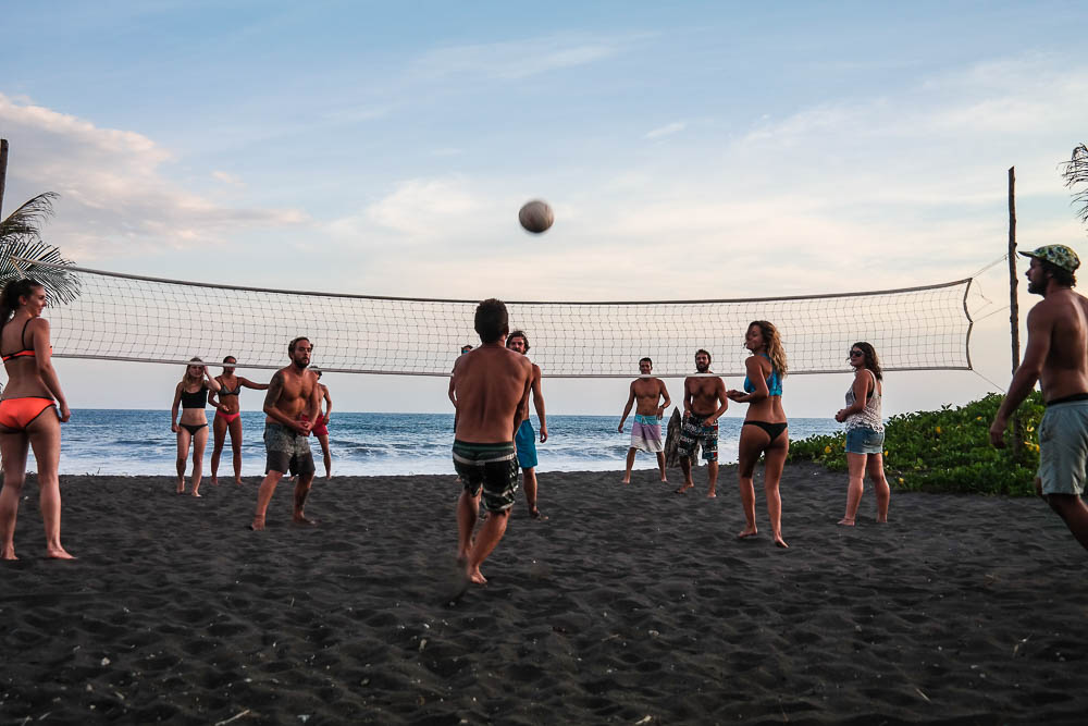 sunset volley ball challenge with our fellow surf campers
